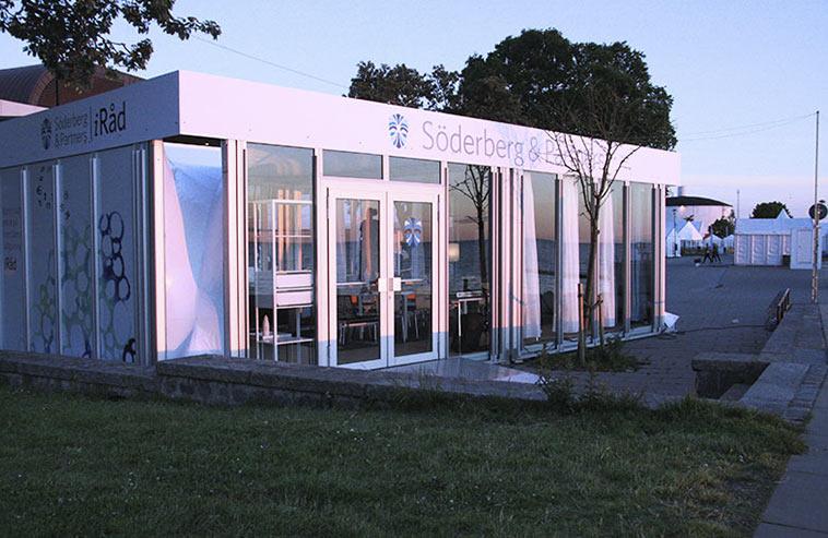 Ett glashus som Söderberg & Partner hyrt till Almedalsveckan.