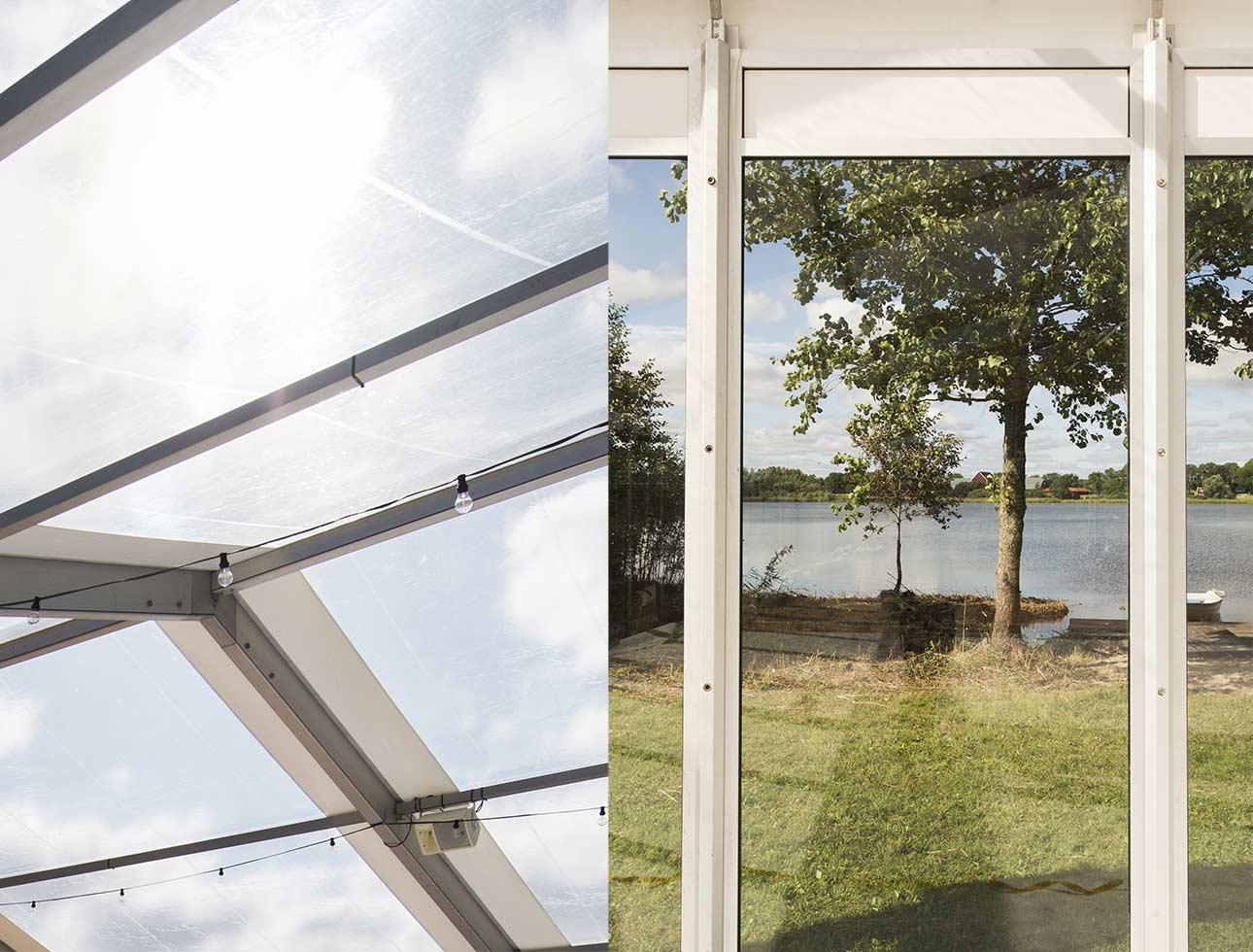 Transparent tak och glasväggar, tillbehör till eventtält.